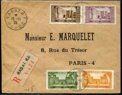 MAROC - N° 66 + 102 + 114 + 116  SUR LR DE RABAT LE 16/11/1926, POUR PARIS - TB - Lettres & Documents