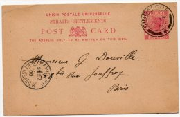 SINGAPOUR (STRAITS SETTLEMENTS)  ENTIER POSTAL DEPART SINGAPORE  SP 24 1900 ARRIVEE PARIS 22 OCT 1900 - Singapour (1959-...)