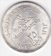 EGYPTE. 25 PIASTRES AH 1393 (1973) .75th Anniversary -National Bank Of Egypt .ARGENT  . KM#438 - Egypt