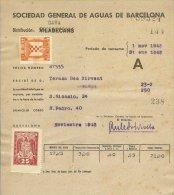 España 029, Water, Eau, Invoice, Facture, Barcelona Municipal Revenue, 1945, Franco - España