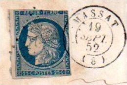 TIMBRE CERES ET CACHETS  VOYAGES EN ARIEGE (MASSAT ET FOIX) EN 1852 - Sin Clasificación