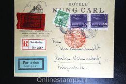 Sweden: Registered Cover 1933 Stockholm To Berlin, F 232 Strip Of 2, Zweigflugpost Berlin, Expresslabel - Zweden