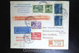 Sweden: Registered Cover 1933 Stockholm To Linz, Austria, Special Flight  Nattflyg/Nightflight , Nr 231 Stripx2 - Zweden