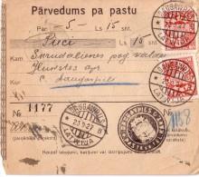 LETTONIE - FORMULAIRE DE POSTE DE DAUGAWPILS LE 23-9-1927. - Lettonie