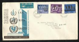 Zambia Airways 1968 Air Mail  Postal Used First Day Cover UNO FDC Unicef Health Human Rights - Zambia (1965-...)