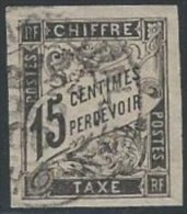 COLONIES GENERALES - TAXE - 15 C. Noir Oblitéré Cad (QUIN-HON ?) - Portomarken