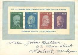 1970 Bloc Non-dentelé Décès De Claude Dornier, Pionnnier De L'aviation, Pour Les USA FDC - Gabon (1960-...)
