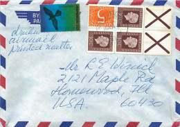 1974 Lettre Avion Pour Les USA  Partie De Carnet PB 17a - Briefe U. Dokumente