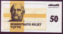 "Test Note  Test Note  ""Olevetti "",  50 Units, Both Sides, UNC , Rare - Paesi Bassi"