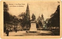 Anvers. - La Place Verte Et La Statue De Rubens. - Antwerpen