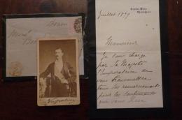 RARE AUTHENTIQUE REMERCIEMENTS DE LA PART DE SA MAJESTE L IMPERATRICE POUR LE DECES DU PRINCE IMPERIAL AVEC  PHOTO - Historische Documenten