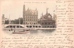 75 PARIS EXPOSITION UNIVERSELLE DE 1900 UN COIN DU QUAI DES NATIONS LA BELGIQUE CARTE PRECURSEUR CIRCULEE - Exposiciones