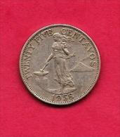PHILIPPINES 1958 Coin 25 Centavos Nickel Brass Km 189.1 - Philippines