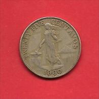PHILIPPINES 1960 Circulated Coin 25 Centavos Nickel Brass Km 189.1 - Filippijnen