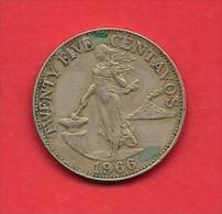 PHILIPPINES 1966 Circulated Coin 25 Centavos Nickel Brass Km 189.1 - Filippijnen