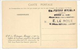 """56 - Tampon """"A La FERME MODELE"""" Epicerie LE ROUX Rue Des FONTAINES LORIENT Sur Cpa Paris Place Du Châtelet - Pub Maggi - Lorient"""