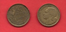 FRANCE, 1951 Circulated Coin 50 Franc, Alu Bronze - France