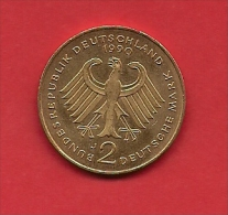 GERMANU 1990,  Circulated Coin  2 Mark Strauss 1949-1989 Km 175 - [ 6] 1949-1990: DDR - Duitse Dem. Rep.
