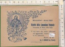 PO2173C# SANTINO - RICORDO COMUNIONE PASQUALE - PARROCCHIA S.MARIA DELLA SCALA -  MONCALIERI 1921 Soc.Tip. Braides - Images Religieuses