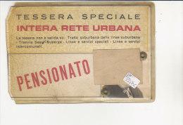 PO2218C# BIGLIETTO TESSERA PENSIONATO - RETE URBANA TORINO - TRAMWAY AUTOBUS TRAMVIE ATM Anni '60 - Week-en Maandabonnementen