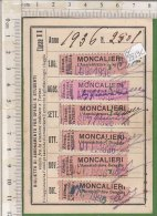 PO2219C# BIGLIETTO ABBONAMENTI OPERAI E STUDENTI - SOC.ANONIMA TRAMWAYS DI TORINO - MONCALIERI 1936 - Abonnements Hebdomadaires & Mensuels