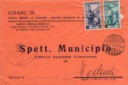 1952 STORIA POSTALE COMUNI ITALIA AL LAVORO BELLA BUSTA MULTIAFFRANCATA COMUNE DI LEGNAGO(VERONA)--R931 - 6. 1946-.. Repubblica