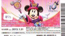 Disney Passeport Entreecard JAPON * TOKYO DISNEY * Passport (1172) JAPAN * DISNEY * STOCKHOLDERS PASSPORT * MICKEY MOUSE - Disney