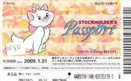 Disney Passeport Entreecard JAPON * TOKYO DISNEY * STOCKHOLDERS Passport (1180) JAPAN * The AristoCats  * CINEMA * FILM - Disney