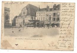 Laon (02) : L'arrêt Des Tramway à La Place De La Mairie En 1903 (animé). - Laon