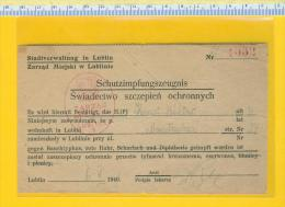 WW II  -  Certificate Of Vaccination  (Typhoid Fever And Dysentery  )  -   Lublin 1941 - 1939-45
