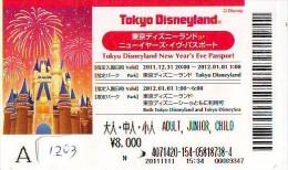Disney Passeport Entreecard JAPON * TOKYO DISNEYLAND * Passport (1203) JAPAN * NEW YEAR'S EVE PASS - Disney