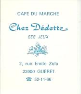 23 GUERET  - Chez  Dédette  Mini Calendrier  1978 - Calendriers