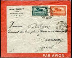 MAROC - PA 3 & 7, SUR LETTRE AVION , DE CASABLANCA LE 30/10/1929, POUR ANNONAY - TB - Lettres & Documents