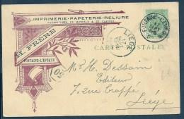 Carte De Fontaine L'Evêque à Liège 1902  - Imprimerie - Papeterie - 1893-1907 Wapenschild