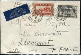 MAROC - N° 140 + 143A, SUR LETTRE AVION, OBL DAGUIN FLAMME DE MEKNES LE 14/6/1939, POUR L'OISE - TB - Lettres & Documents