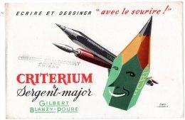 - BUVARD CRITERIUM & Sergrnt-Major Gilbert Blanzy-Poure D´après Jacquelin - 378 - Stationeries (flat Articles)