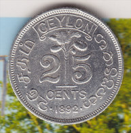 @Y@    Sri Lanka / Ceylon  25 Cents 1892  (2319) - Sri Lanka