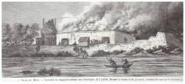 Gravure De  1865 Ville De METZ    INCENDIE DU MAGASIN   CENTRAL AUX FOURRAGES    Le   7 Juillet - Old Paper