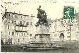 07/CPA - Annonay -  Statue Des Frères Montgolfier - Annonay
