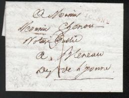 YONNE  - LETTRE  AVEC CORRESPONDANCE - 4 BRUMAIRE AN 12 ( 1803) 83 JOIGNY EN ROUGE - Marcophilie (Lettres)