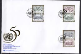 UN United Nations Geneva / New York / Vienna 1995 UN United Nations 50th Anniversary 6 Stamps On FDC - ONU