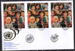 UN United Nations Geneva / New York / Vienna 1995 UN United Nations 50th Anniversary 3 X Set Of 12 On 4 FDC - ONU