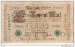 1000 Mark 1910 - N° Nr 4817251 B - (vert) - Empire Allemand - - [ 2] 1871-1918 : German Empire