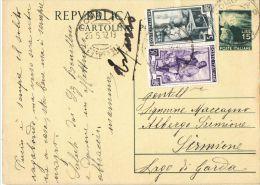J509) ITALIA CARTOLINA POSTALE DEMOCRATICA 15 LIRE DEL 1949 VIAGGIATA PER ESPRESSO - 6. 1946-.. Repubblica