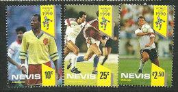Coupe Du Monde 1990 ITALIE. 3 T-p Neufs ** De L´île NEVIS  (CARAÏBES) Équipes Du Cameroun,Tchèque,Angleterre. - Coupe Du Monde