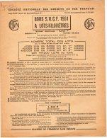 VP483 - PARIS 1951 - Bons S . N . C . F . 1951 A Lots - Kilomètriques / Bulletin De Souscription Page 4 - Transportation Tickets