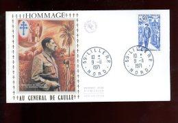 Enveloppe Premier Jour 1er Fdc Hommage Au Général De Gaulle Lille 1971 - 1970-1979