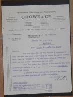 """MARSEILLE Canebière CROWE & Cie Entreprise Générale De Transport Fret SS """"NUMIDIA"""" Facture 1920 - Boats"""