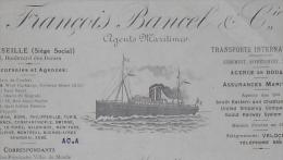 MARSEILLE Transports Maritimes FRANÇOIS BANCEL & Cie SS Vapeur NUMIDIA Fret 1920 - Boats