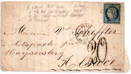 Fragment Lettre Avec N°37 Siège Paris Oblitéré étoile 1 Paris 2 Aout 1871 Pour Kaysersberg Alsace Avec Taxe Tampon 20 - 1870 Siège De Paris